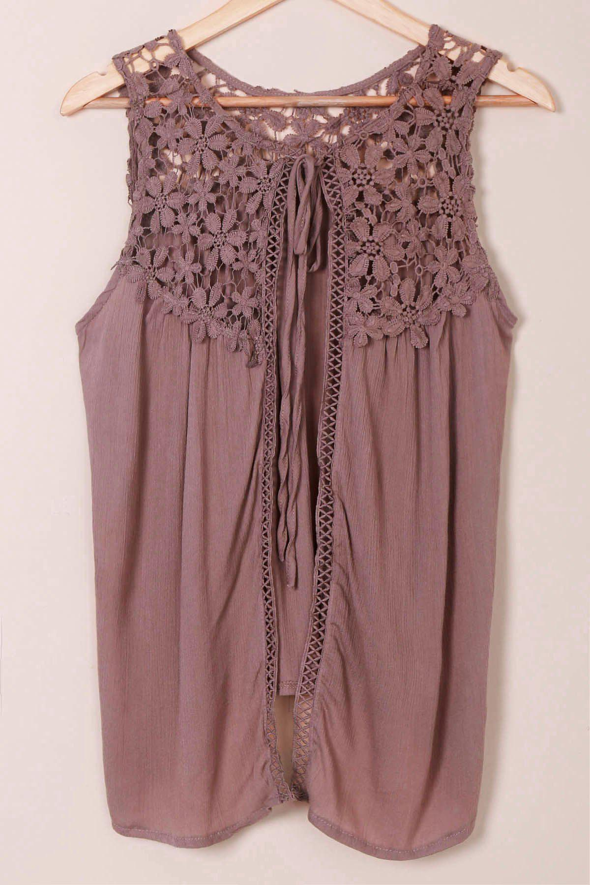 Refreshing Scoop Neck Crochet Lace Splicing Sleeveless Tank Top For Women - LIGHT BROWN M