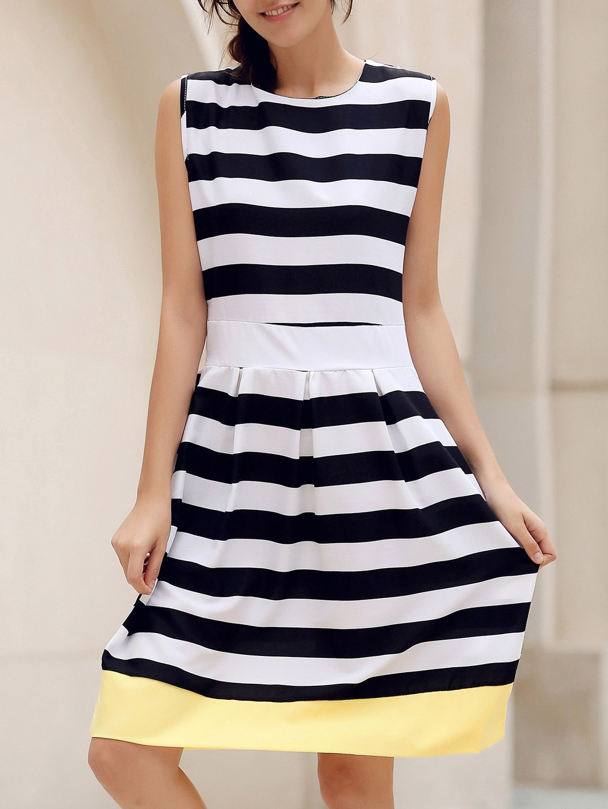 Stylish Scoop Collar Sleeveless Spliced Striped Women's Dress - STRIPE M