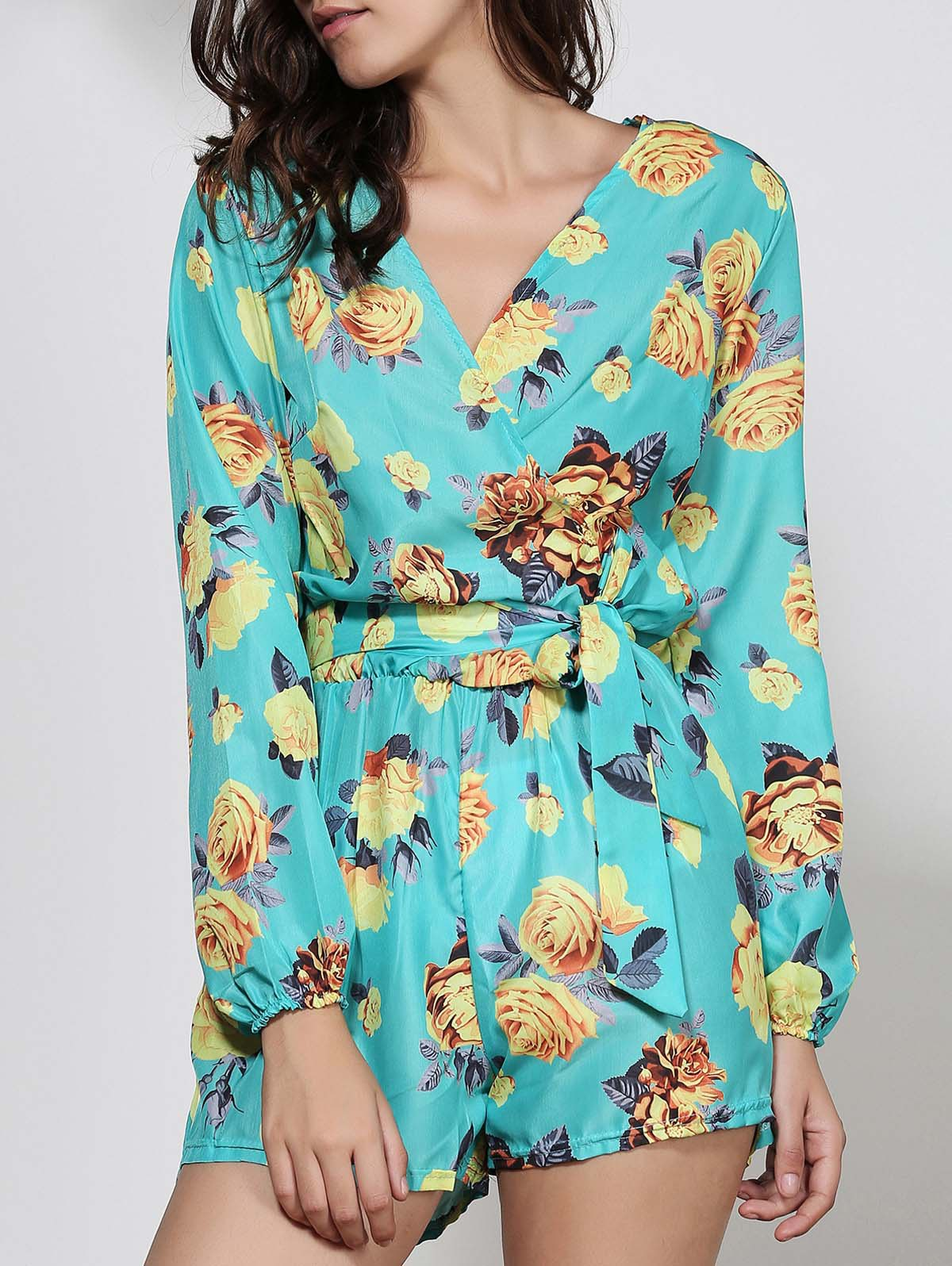 Sexy Floral Print Plunging Neck Long Sleeve Romper with Belt For Women - GREEN M
