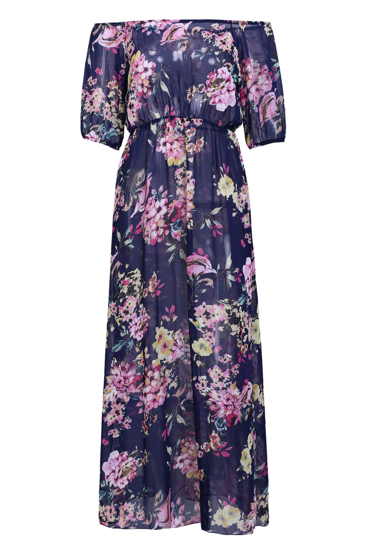 Sexy Slash Collar 3/4 Sleeve See-Through Floral Print Women's Dress - PURPLISH BLUE S