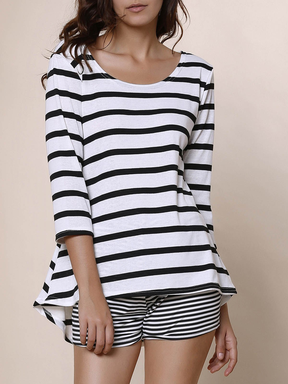 Simple Style Scoop Neck Stripe Print 3/4 Sleeve Blouse For Women - WHITE/BLACK S