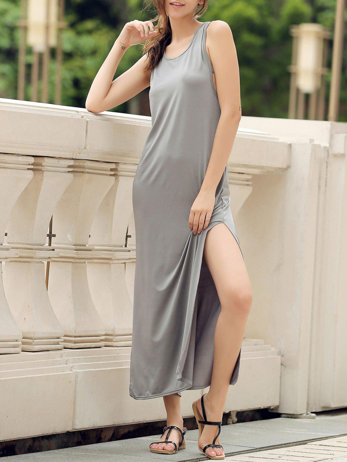 Stylish Scoop Neck Sleeveless High Slit Solid Color Women's Dress - GRAY S