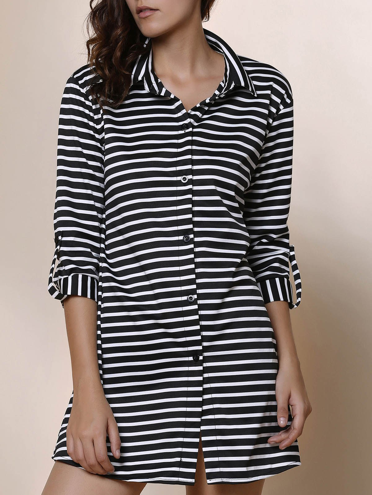 Simple Striped Polo Collar Long Sleeve Blouse For Women - STRIPE S