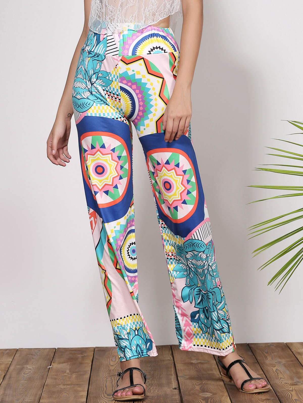 Fashionable Mid-Waisted Printed Loose-Fitting Women's Pants - GREEN S