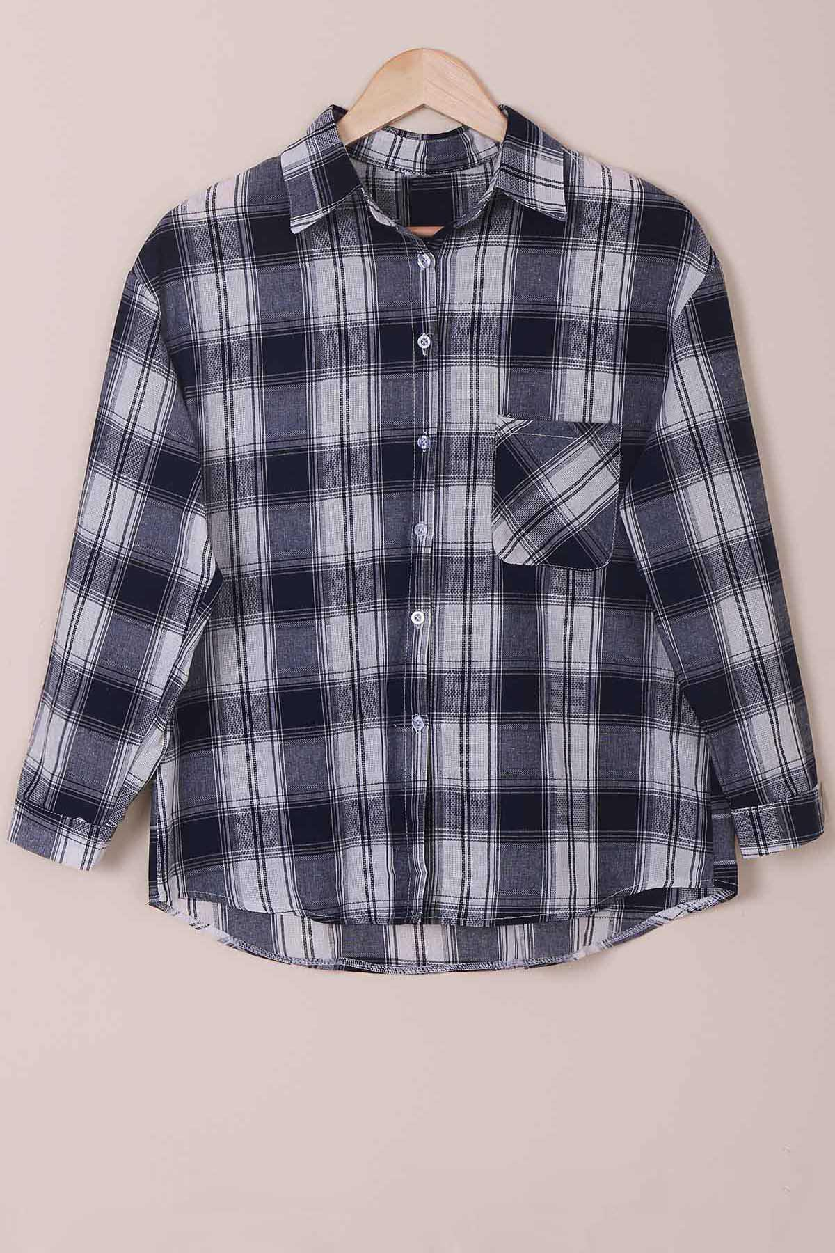 Casual Shirt Collar Checked Print Single-Breasted Long Sleeve Women's Blouse - CHECKED 2XL