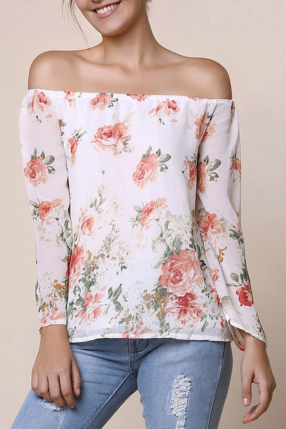 Stylish Long Sleeve Off-The-Shoulder Floral Print Chiffon Women's Blouse - WHITE S