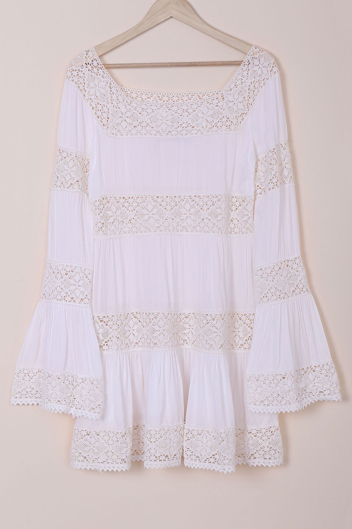 Flare Long Sleeve Lace Insert Tunic Dress - WHITE L