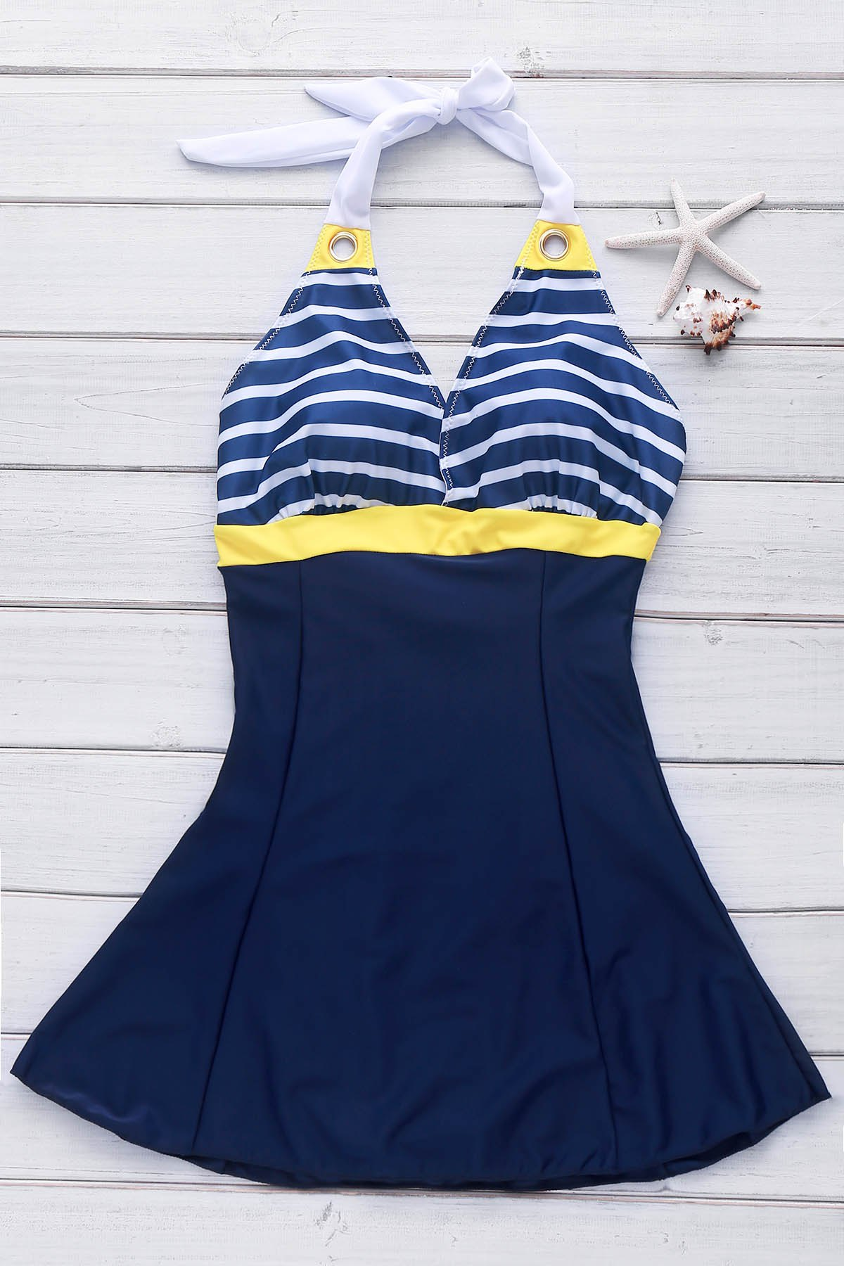 Casual Style Striped Backless Sleeveless V-Neck Self-Tie Design One-Piece Swimwear - YELLOW L