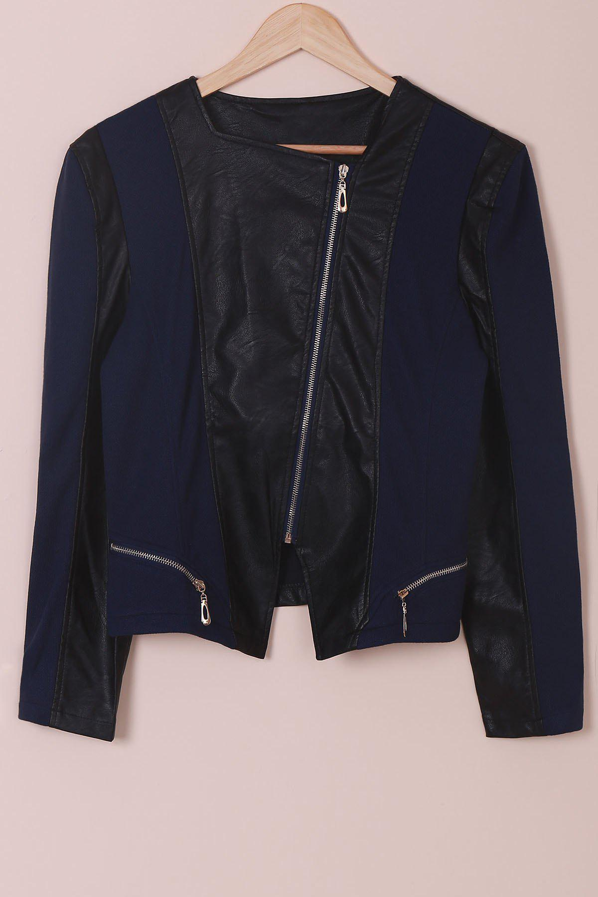 Women's Chic Faux Leather Zipper Long Sleeve Jacket - BLUE/BLACK XL