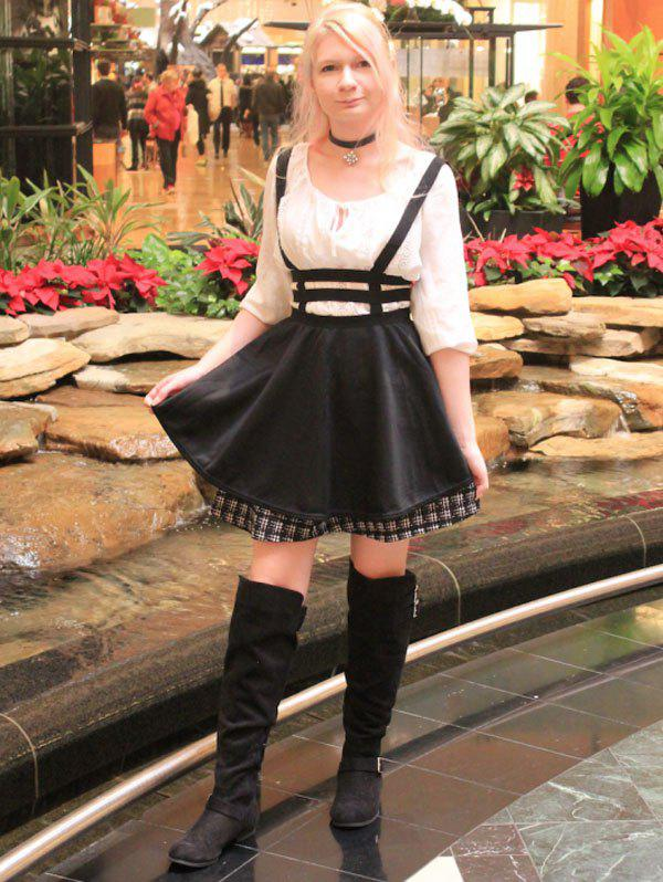 Stylish Black Zippered Hollow Out Suspender Skirt For Women