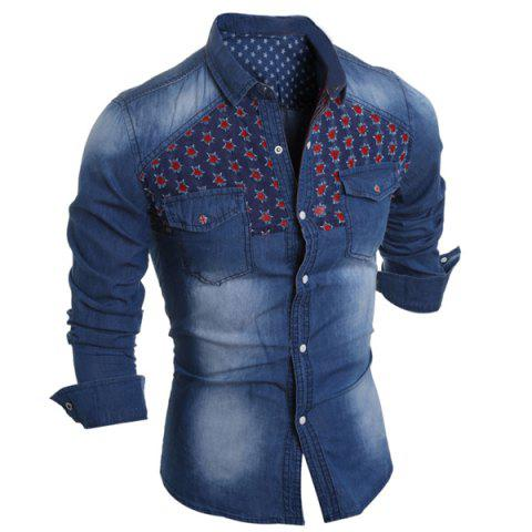 Turn-Down Collar Slimming Color Block Holes Design Long Sleeve Men's Denim Shirt - LIGHT BLUE 2XL