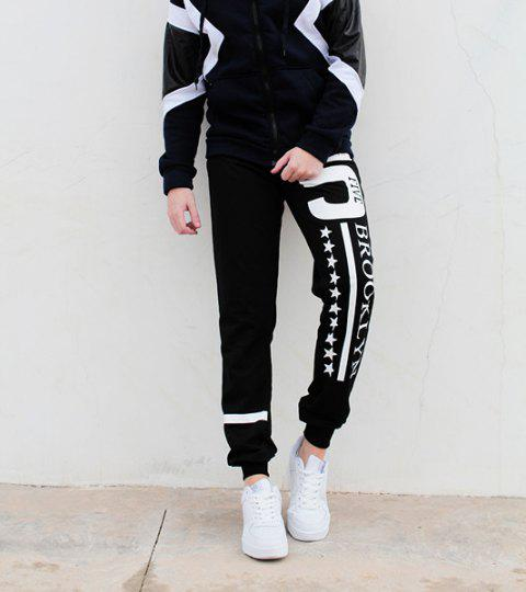 Hot Sale Beam Feet Letters Number Star Print Loose Fit Men's Lace-Up Sweatpants - BLACK L