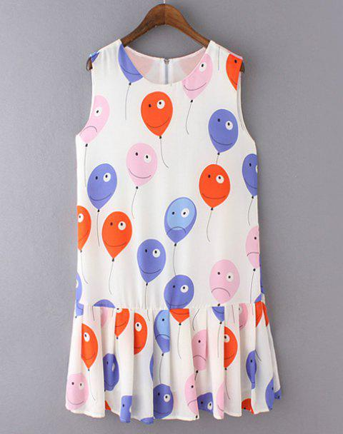 Cute Balloon Print Pleated Sundress For Women - WHITE XL