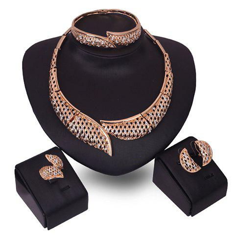 A Suit of Stylish Rhinestone Hollow Out Necklace Bracelet Ring and Earrings For Women - GOLDEN ONE-SIZE