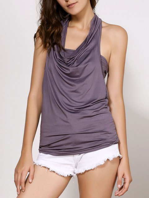 Stylish Cowl Neck Sleeveless Backless Solid Color Women's T-Shirt - DEEP GRAY XL