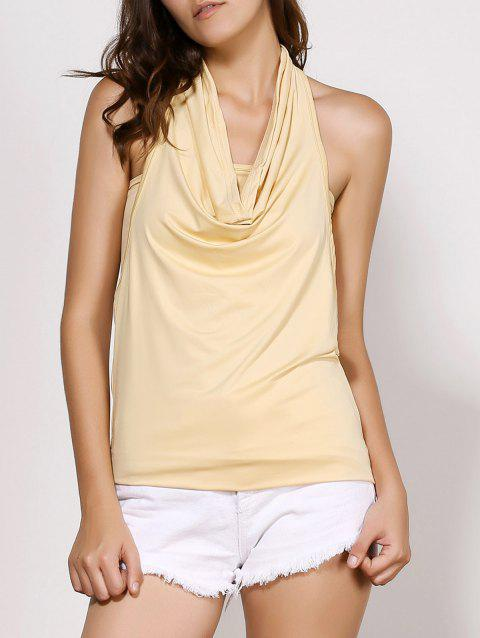Stylish Cowl Neck Sleeveless Backless Solid Color Women's T-Shirt - OFF WHITE S