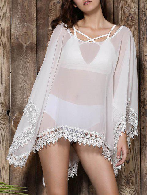 Stylish V-Neck Lacework Spliced Loose-Fitting 3/4 Sleeve Women's Kimono Blouse - WHITE XL