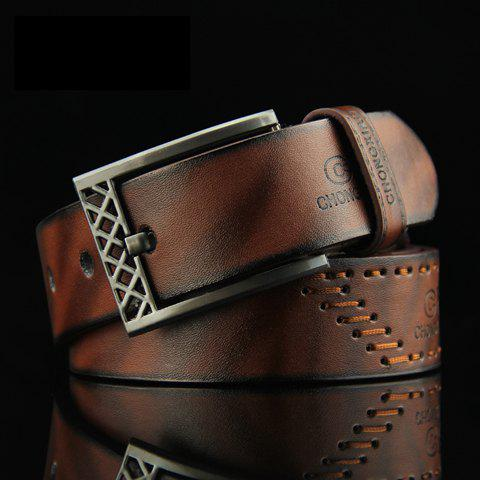 Stylish Sewing Thread Embellished Letter Pattern Pin Buckle Men's PU Belt - COFFEE