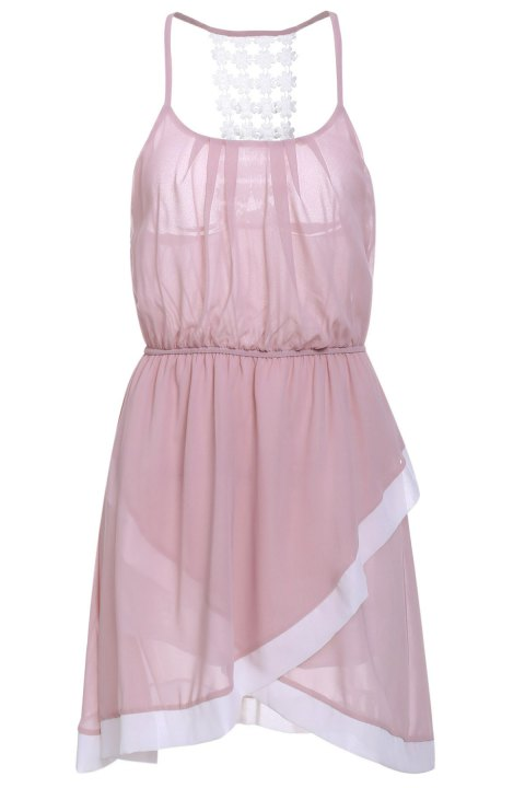 Sweet Spaghetti Strap Asymmetrical Hollow Out Women's Dress - PINK L
