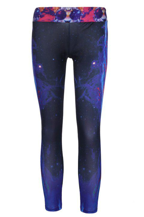 Stylish Women's Elastic Waist Tiger and Galaxy Printed Yoga Pants - BLACK ONE SIZE(FIT SIZE XS TO M)