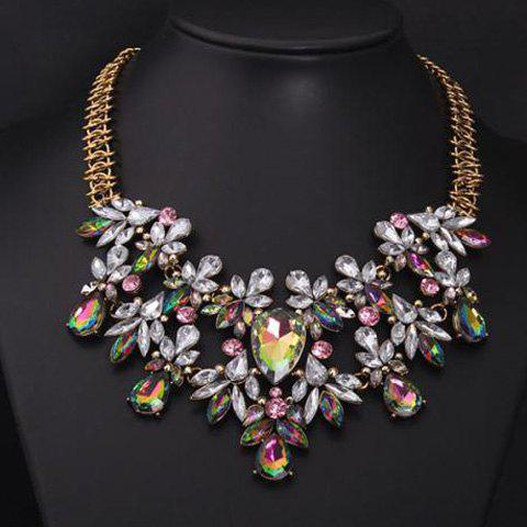 Rhinestone Faux Gem Decorated Water Drop Necklace - COLORMIX