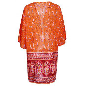 Chic Cashew Print Collarless 3/4 Sleeve Chiffon Kimono For Women - ORANGE ORANGE