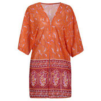 Chic Cashew Print Collarless 3/4 Sleeve Chiffon Kimono For Women - ORANGE M