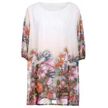 Loose-Fitting Scoop Neck Floral Print Half Sleeve Women's Dress