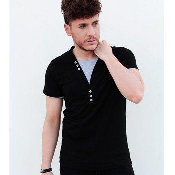 Faux Twinset Buttons Embellished V-Neck Short Sleeve Slimming Men's T-Shirt
