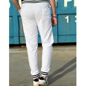 Fashion Lace-Up Color Block Rib Splicing Loose Fit Beam Feet Men's Polyester Sweatpants - WHITE M