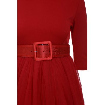 Graceful Long Sleeve Peter Pan Collar A-Line Voile Spliced Red Women's Dress - RED S