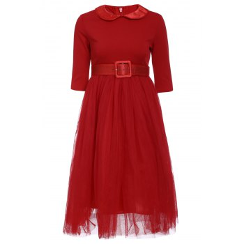 Graceful Long Sleeve Peter Pan Collar A-Line Voile Spliced Red Women's Dress