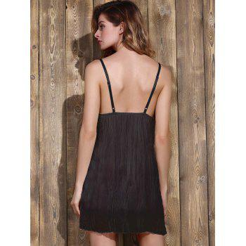 Trendy Plunging Neck Lace Bowknot Decorated Pleated Babydolls For Women - BLACK BLACK