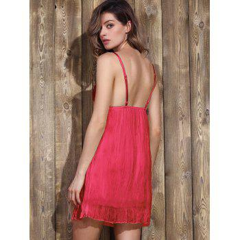 Trendy Plunging Neck Lace Bowknot Decorated Pleated Babydolls For Women - RED M