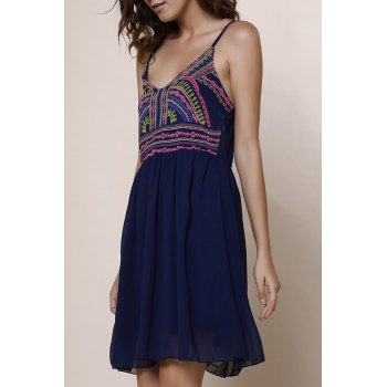 Spaghetti Strap Color Block Print Sleeveless Dress