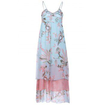 Spaghetti Strap Lotus Printing High Waist Chiffon Dress For Women