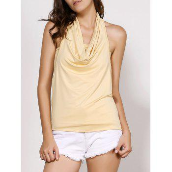 Stylish Cowl Neck Sleeveless Backless Solid Color Women's T-Shirt