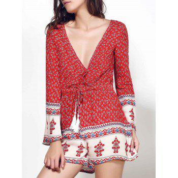 Ethnic Plunging Neck Long Sleeve Drawstring Printed Women's Romper