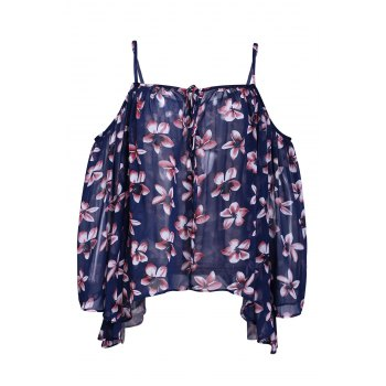 Chic Batwing Sleeve Spaghetti Strap Floral Print Women's Blouse