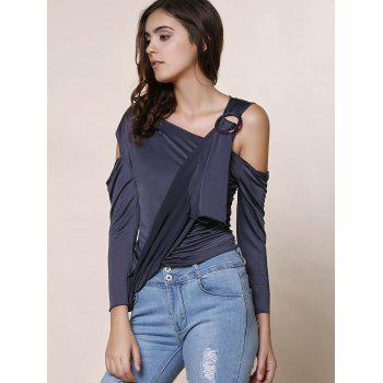 Stylish Skew Neck 3/4 Sleeve Hollow Out Asymmetrical Women's T-Shirt - GRAY S
