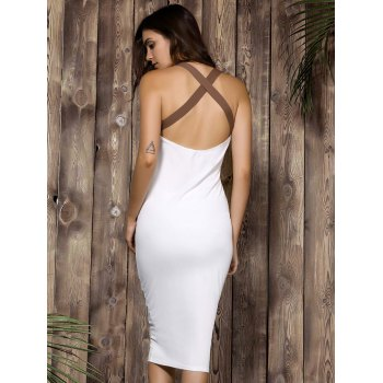 Sexy Plunging Neck Color Block High-Waisted Backless Bodycon Dress For Women - S S
