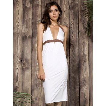 Sexy Plunging Neck Color Block High-Waisted Backless Bodycon Dress For Women - WHITE S
