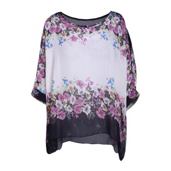Women's Refreshing Scoop Neck Flower Print Batwing Sleeve Chiffon Blouse - WHITE WHITE