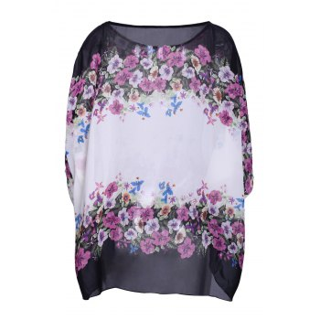 Women's Refreshing Scoop Neck Flower Print Batwing Sleeve Chiffon Blouse - WHITE XL