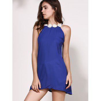 Floral Jewel Neck Backless Sleeveless Dress For Women - PURPLISH BLUE XL