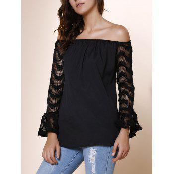 Fashionable Off-The-Shoulder Lace Splicing Sleeve Black T-Shirt For Women