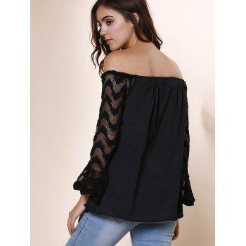 Fashionable Off-The-Shoulder Lace Splicing Sleeve Black T-Shirt For Women - XL XL