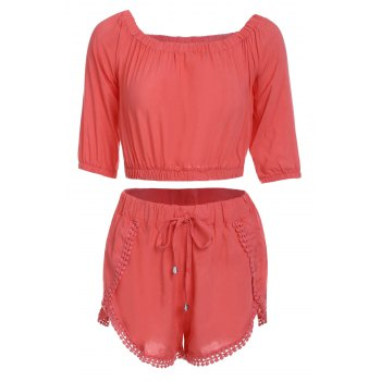 Trendy Off-The-Shoulder 3/4 Sleeve Solid Color Crop Top + Tassels Shorts Women's Twinset