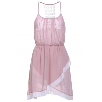 Sweet Spaghetti Strap Asymmetrical Hollow Out Women's Dress - PINK XL