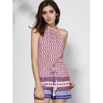 Ethnic Women's Round Neck Backless Print Romper - PURPLE S